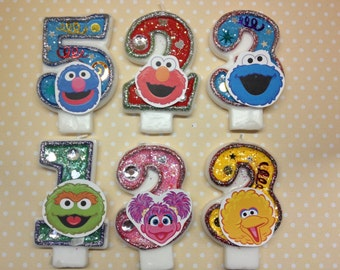 Sesame Street, Elmo, Abby Birthday Party Number Candle