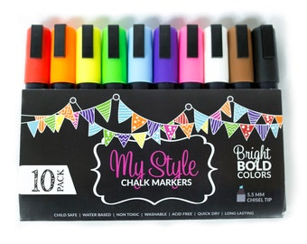 Chalk Markers by My Style - Huge 10 Pack Set - Bright Bold Colors FREE Shipping