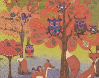 051 owls and FOXES pattern X 1 4 X 4 pattern lunch size paper towel