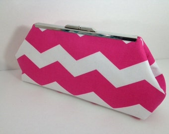Hot Pink and White Chevron Print Clutch Purse with Silver Finish Snap Close Frame, Bridesmaid, Wedding, Bridal Party, Bridesmaid gift