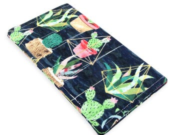 Cactus Checkbook Cover Wallet - Slim, Two Pocket Design Holds Cash And Checkbook