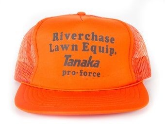 Vintage Riverchase Lawn Equipment Tanaka Cap / Orange Trucker Hat Cap / Trucker Cap / Baseball Cap / Unique Baseball Hat