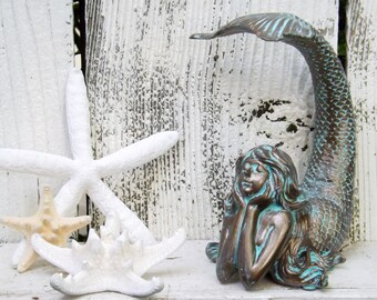 Mermaid Decor~Patina~Mermaid Sculpture~Mermaid home Decor