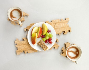 Wooden Coasters - Interlocking Puzzle Coasters - Solid Oak - Geometric - Unique Coasters - Home Decor - Table Art - Set of 8