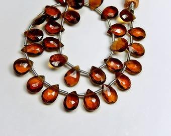 AAA Hessonite (Garnet) Gemstone Bead. Semi Precious Gemstone. Faceted Pear Briolette, 8-9mm. Pairs or Individually  (52hes)