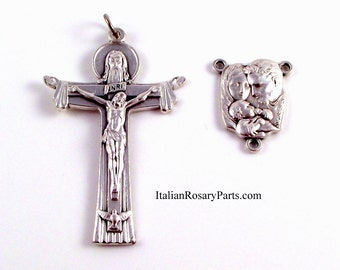 Rosary Center and Crucifix Set Holy Family Center with Trinity Crucifix | Italian Rosary Parts
