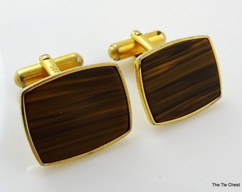 Vintage Cufflinks Faux Wood Brown Angled Signed FIIC