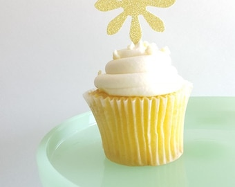 Sunflower Cupcake Toppers {Dozen} Party Decor, Wedding Decor, Graduation, Bridal Shower, Birthday Decor, Anniversary, 28 GLITTER COLORS