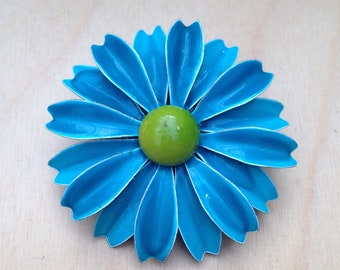 Vintage Blue Flower Brooch