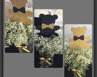 Teddy bear gold centerpiece, gold, black, grey teddy bear baby shower centerpiece, black and white baby shower centerpiece,boy baby shower
