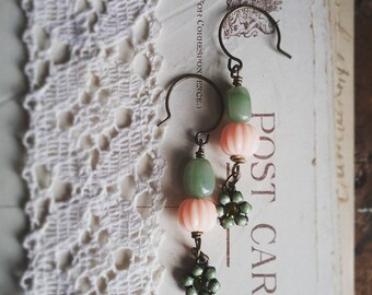 Green Flower Earrings, Beaded Dangle Earrings Made With Peach and Green Vintage Beads, Romantic Jewelry for Women