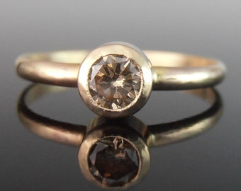 Champagne Diamond and 14k Yellow Gold Ring, Champagne Diamond Engagement Ring, 14k Gold Ring, 14k Gold Engagment Ring