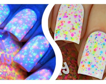 FRECKLES (neon):  Custom-Blended NEON UV/Blacklight Glitter Nail Polish / Lacquer/ indie polish