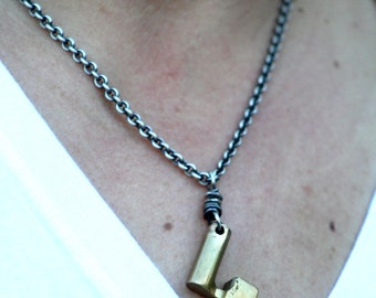 Stylized Vintage Brass Key Sterling Silver Chain Necklace