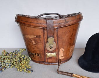 Antique English Leather Top Hat Box - 19th Century