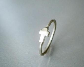 Dainty Sterling Silver Cross Ring, Petite Sterling Silver Cross Ring