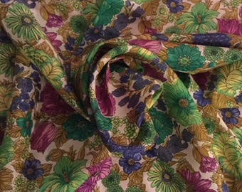 """Floriferous Signed Vanensis Bursa Silk Scarf 1960's 1970's Large 36"""" Square Floral Flower Pink Blue Green White Rolled Edge Hand Stitched"""