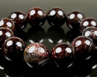 10.5mm Deep Wine Red Garnet Round Beads - 12 beads - #LS5022