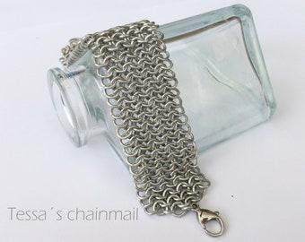 Chainmaille bracelet, silver bracelet, cuff bracelet, european chainmaille.