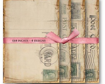 Vintage Postcards Digital Collage Sheet Download -456- Digital Paper - Instant Download Printables