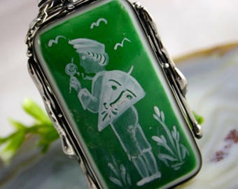 Porcelain Pendant Boy with a Kite Necklace Sterling Silver Jewelry