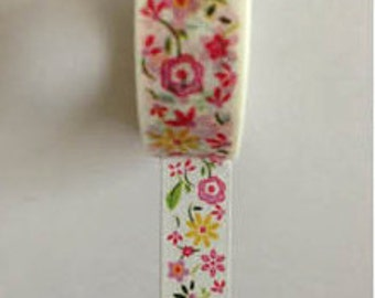Pink and Yellow Floral  Mix Washi Tape (Japanese Tape, Decorative Adhesive, Decorative Tape)