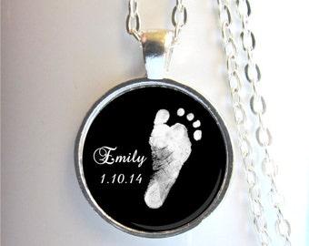Footprint Necklace, Baby Footprint Pendant, Mother's Necklace, Custom Footprint Jewelry