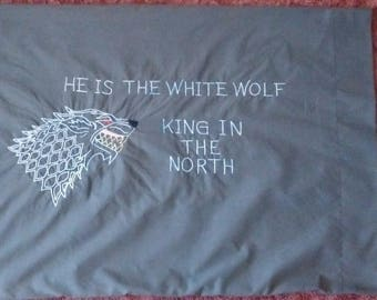 Double Sided Game of Thrones Pillowcase Jon Snow: He Is The White Wolf-King In The North with White Direwolf, Handmade Embroidery