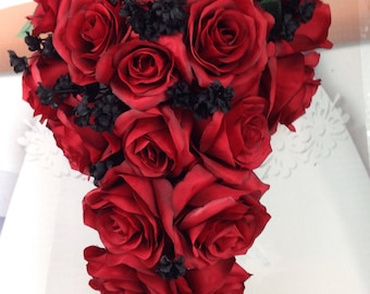 """New Artificial Red and Black Wedding Teardrop Bouquet, 15"""" in length. Black Baby's Breath and Red Bridal Bouquet"""