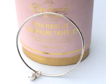 Silver Pearl Bangle, Stacking Bangle (Hammered or Smooth) Handmade