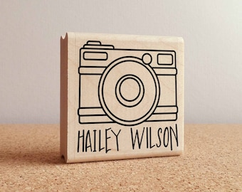 Personalized Custom Photography Rubber Stamp with Camera and Name, Custom Photographer Stamp