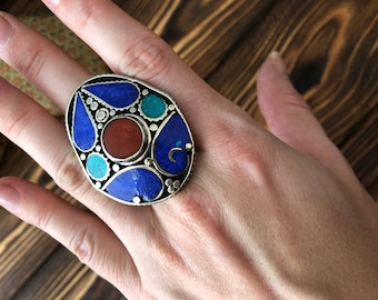 Lapis lazuli and coral nepali ring 10 size - Tibetan multistone signet coral ring - Mosaic jewelry - Bohemian rhombus ring - ethic jewelry