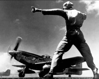 Poster, Many Sizes Available; North American P-51 Mustang Takes Off From Iwo Jima