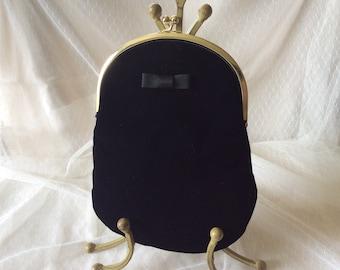 Vintage Black Velvet Clutch Purse