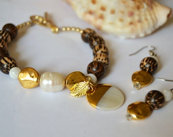 PEARL and GOLD Accent Coco Wood Toggle Bracelet and Earring Set Mother of Pearl and Gold Dipped Charm