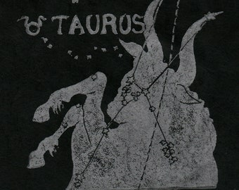 Taurus Constellation Linocut in Silver on Black - Constellations of the Zodiac Lino Block Print Collection - Taurus the Bull
