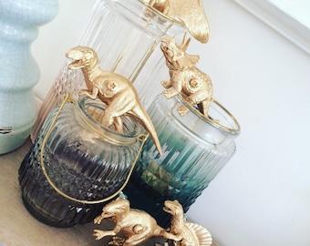 Dinosaur furniture knobs / drawer pulls - Painted