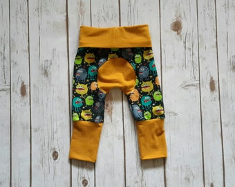 Miniloones Grow With Me Pants Mustard Silly Monsters