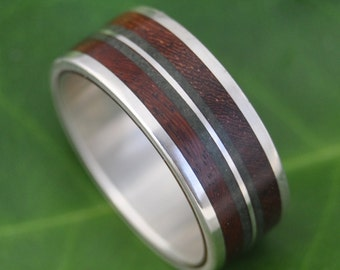 Lados-Linea Verde Nacascolo Wood Ring - ecofriendly recycled sterling silver and wood wedding ring, wood wedding band, stone inlay ring