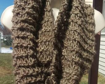 Big,Soft&Fluffy Knit Wool Cowl/Scarf/Wrap-Oatmeal *Free Shipping*