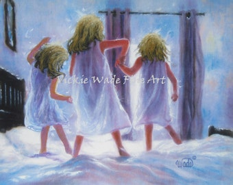 Three Sisters Jumping On Bed Art Print, three girls bedroom wall art decor, three blondes, three blonde girls, Vickie Wade art
