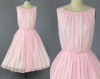50s Dress, 1950s Prom Dress, Pink Chiffon Bridal Party Dress, Vintage 50s Wedding Bridesmaid Dress