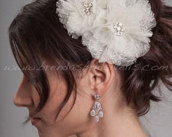 Bridal Hair Flower 2 Piece Set, Point d'Esprit Wedding Flowers, Birdcage Veil Fascinators - Flora