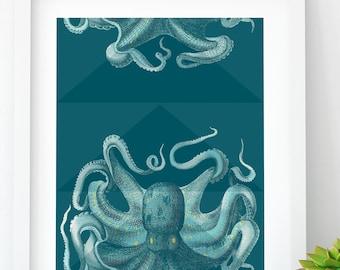 Modern Octopus PRINTABLE, Sea Life Wall Art, Octopus Wall Art, Beach Cottage decor, Printable Octopus, Digital Download, large-scale print