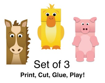 Farm Animals Paper Bag Puppets - FULL COLOR - Downloadable Kid's Craft - Set of 3