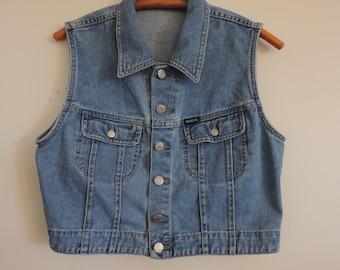 Vintage Denim Jean Vest GUESS Distressed Denim Vest Guess Jeans Est. 1981