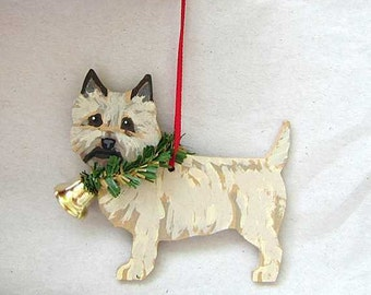 Hand-Painted CAIRN TERRIER Wheaten Wood Christmas Ornament...Artist Original, Christmas Tree Ornament Decoration