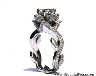 BLOOMING Work Of Art - Flower Rose Lotus Diamond Engagement Ring with Leaves - Semi Mount - Setting - 14K - fL07 - Patented design