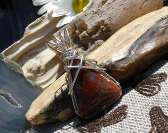 Moss Agate Wire Wrapped Boho Style Stone Pendant