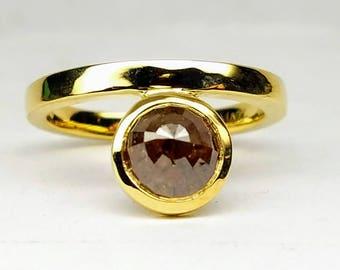 Asymmetric Rose cut diamond ring, Raw diamond engagement ring, Asymmetrical Stackable ring, Teardrop diamond ring.